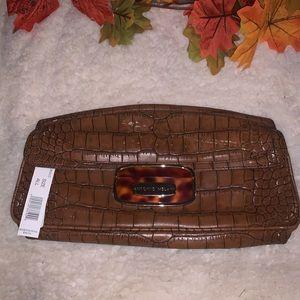 NWT Croc Embossed Leather Wristlet